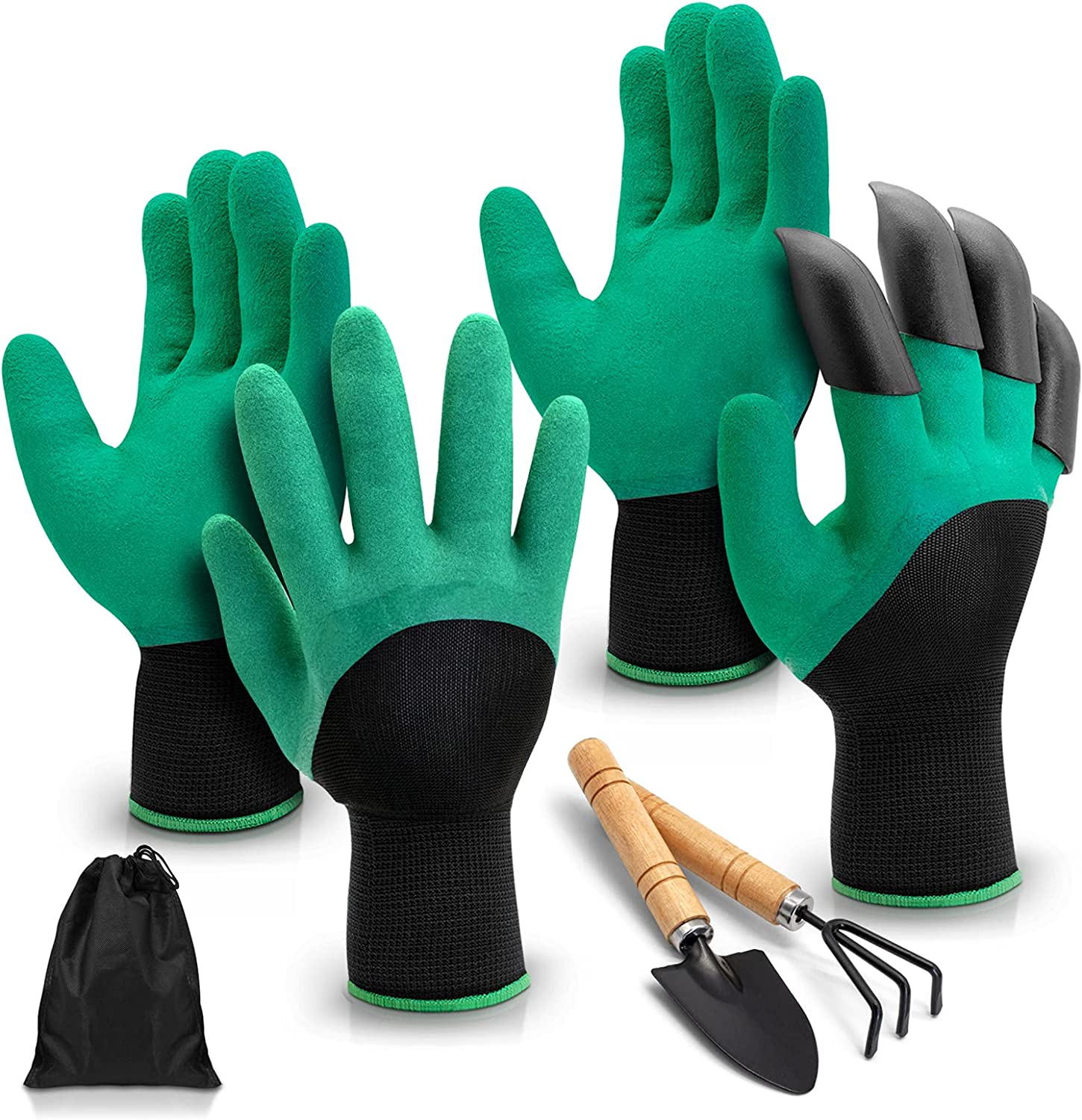 Gardening Gloves, 2 pairs green Garden Gloves with a Garden Shovel and a Cultivator, Garden Gloves with Claws for diggingPlantingWeeding Seeding , Excellent Plant Gifts