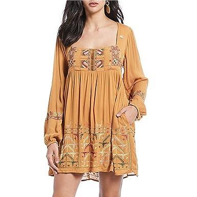 e17b650eb5b8 Free People Women s Rhiannon Embroidered Mini Dress Mustard Small at ...