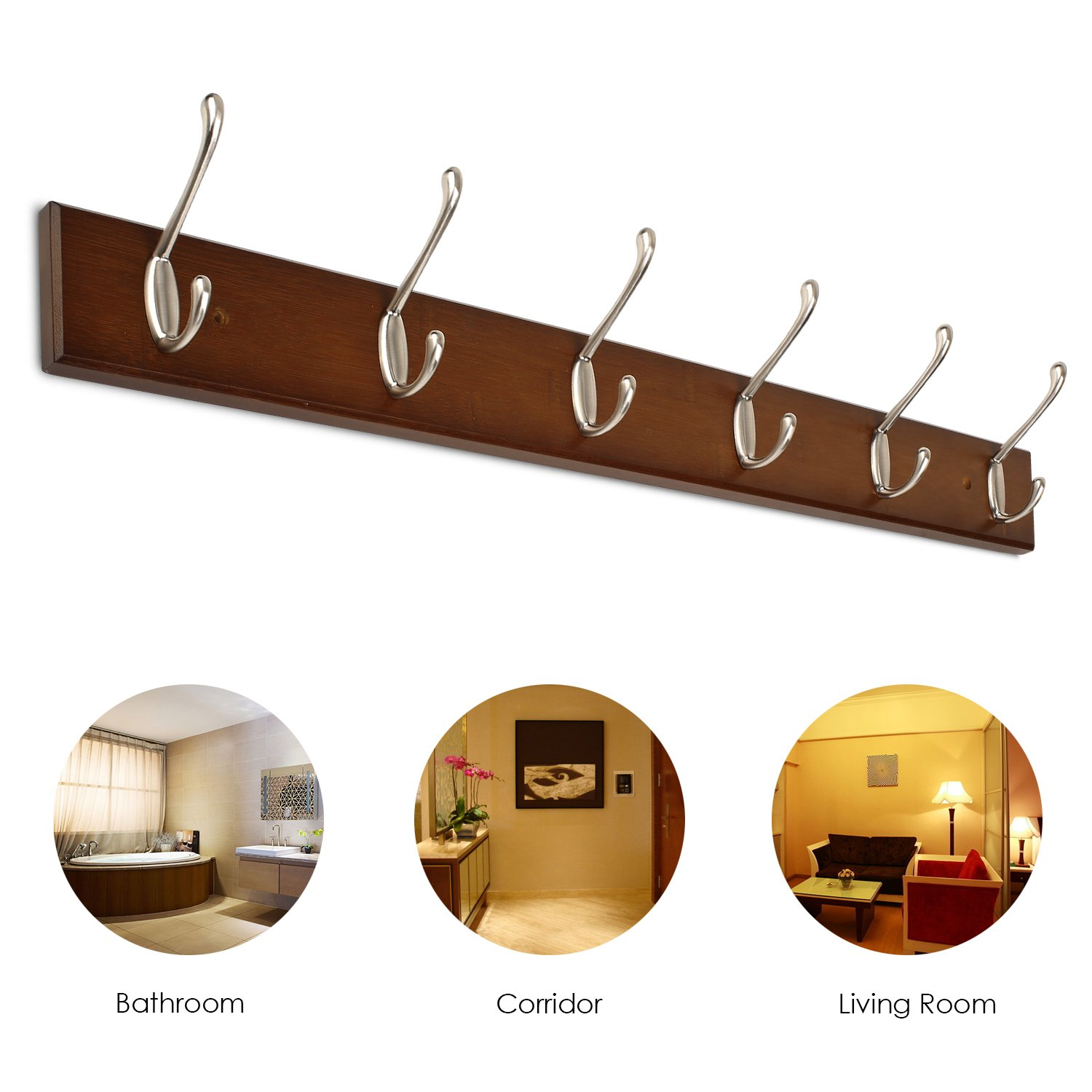 Hats Scarves Retro color Coats Homfa Bamboo Hook Rack with 6 Dual Scroll Wall Hanger Hooks for Jackets