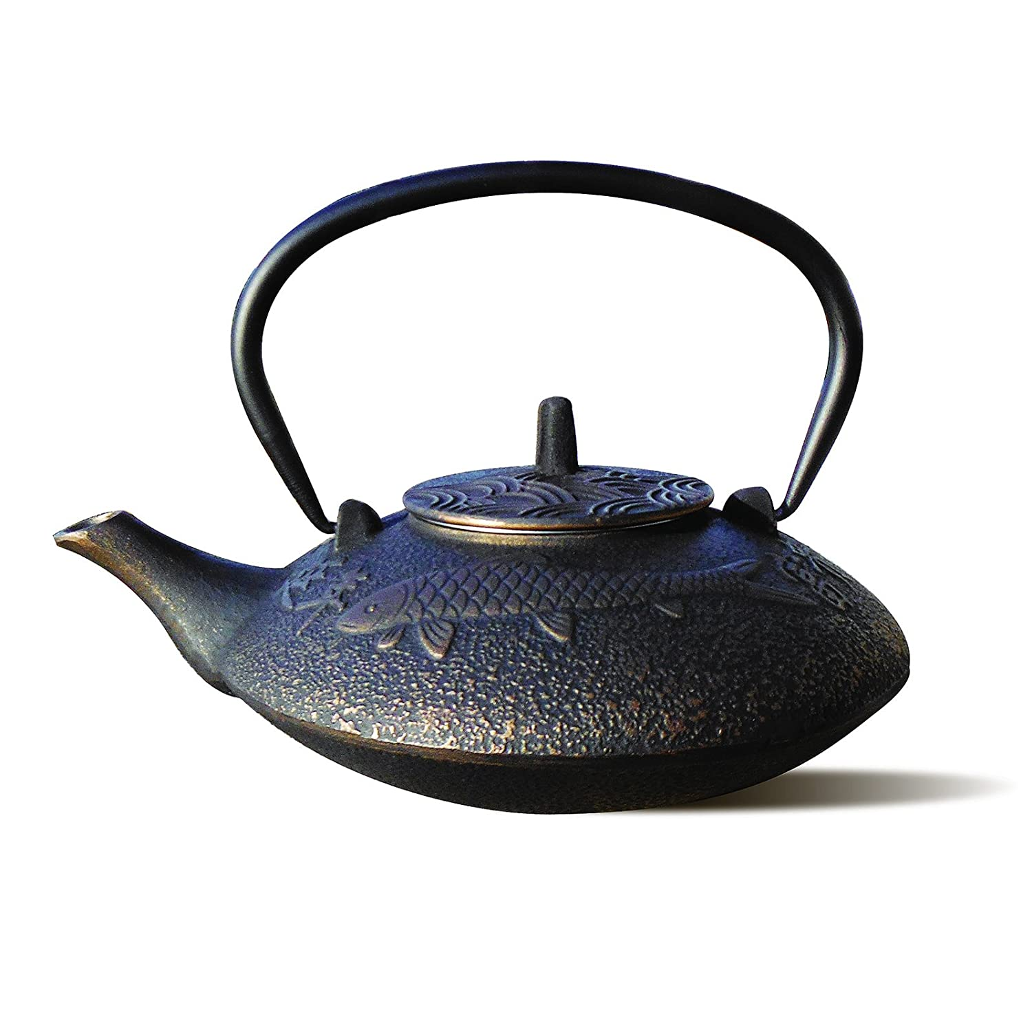 Black and Copper Koi Teapot Image