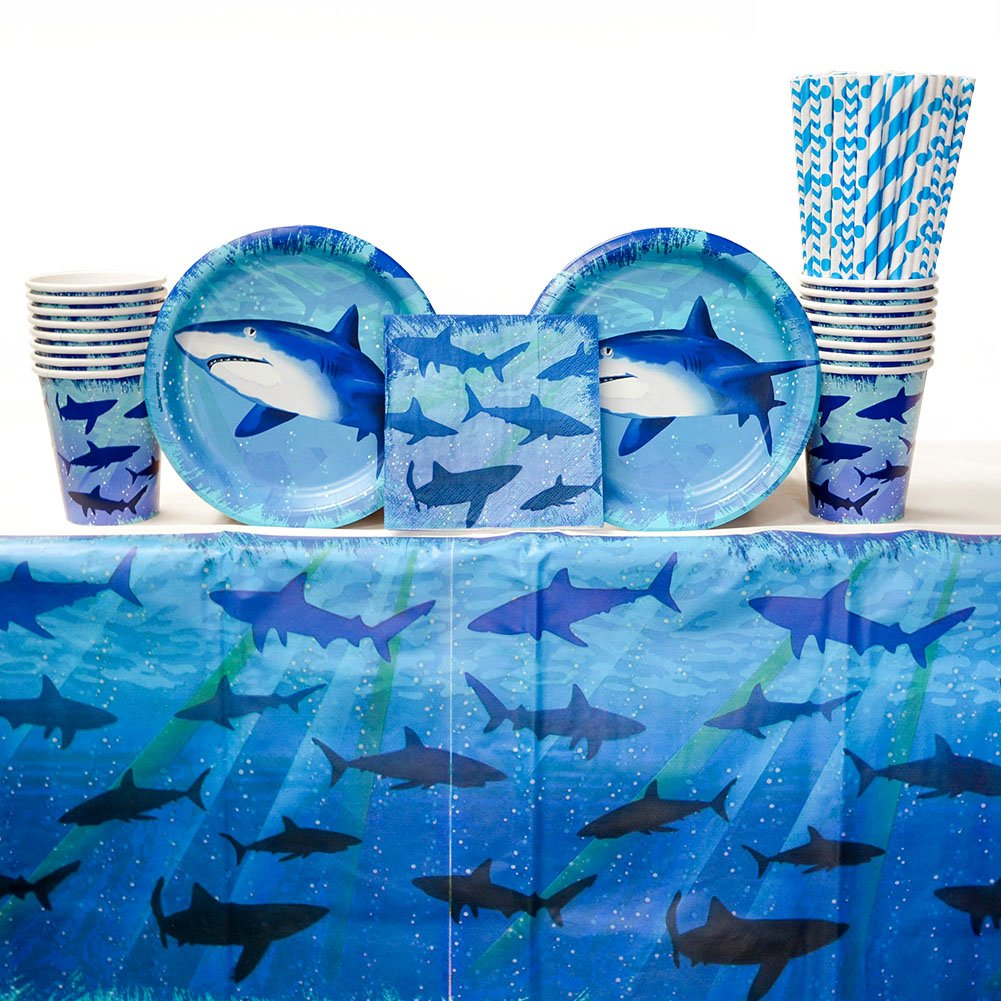 Shark Splash Birthday Party Supplies Pack for 16 Guests  24 Paper Straws, 16 Dessert Plates, 16 Beverage Napkins, 16 Paper Cups, and 1 Table Cover  Perfect Shark Party Supplies for a Shark Week Party!