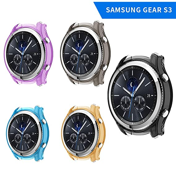 XIHAMA Case for Samsung Gear S3 Frontier, Soft TPU Cover Full Around Shock Proof Protective Bumper Screen Protector Compatible with Gear S3 Frontier ...