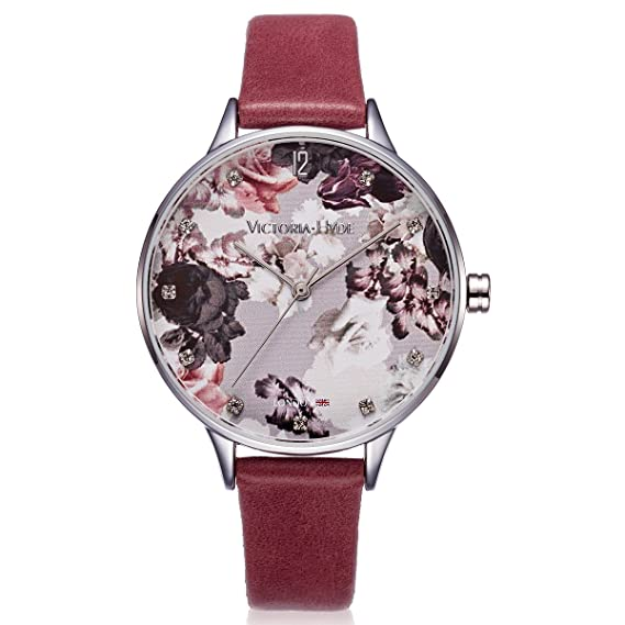 VICTORIA HYDE Reloj analógico para mujer de cuarzo, con impresión floral en la esfera, correo de piel auténtica, resistente al agua 30 m: Amazon.es: Relojes