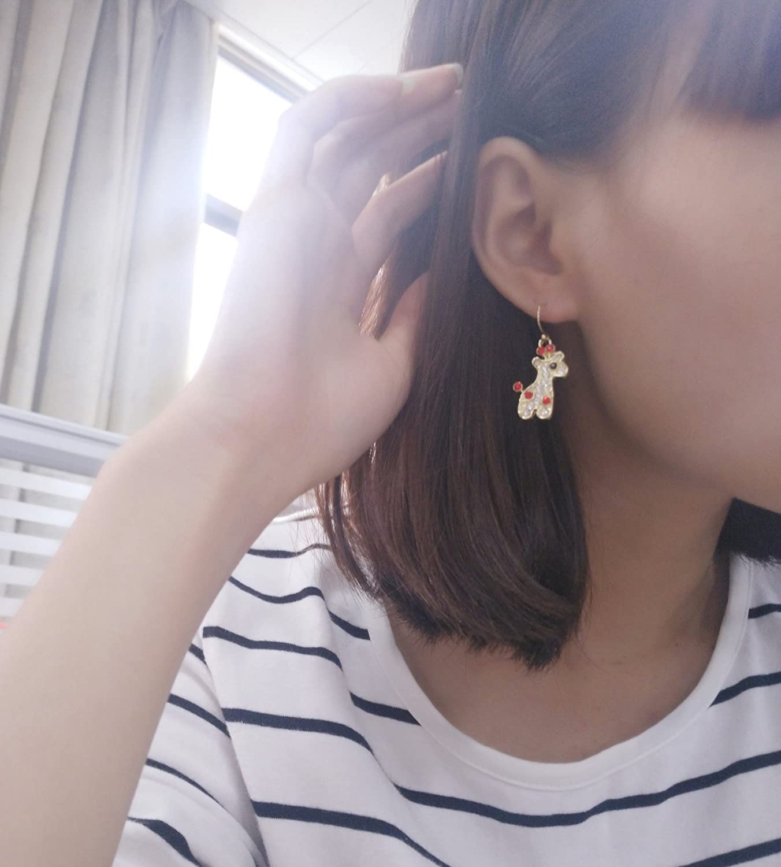 MANZHEN Gold Silver Cute Crystal Animal Giraffe Dangle Earrings