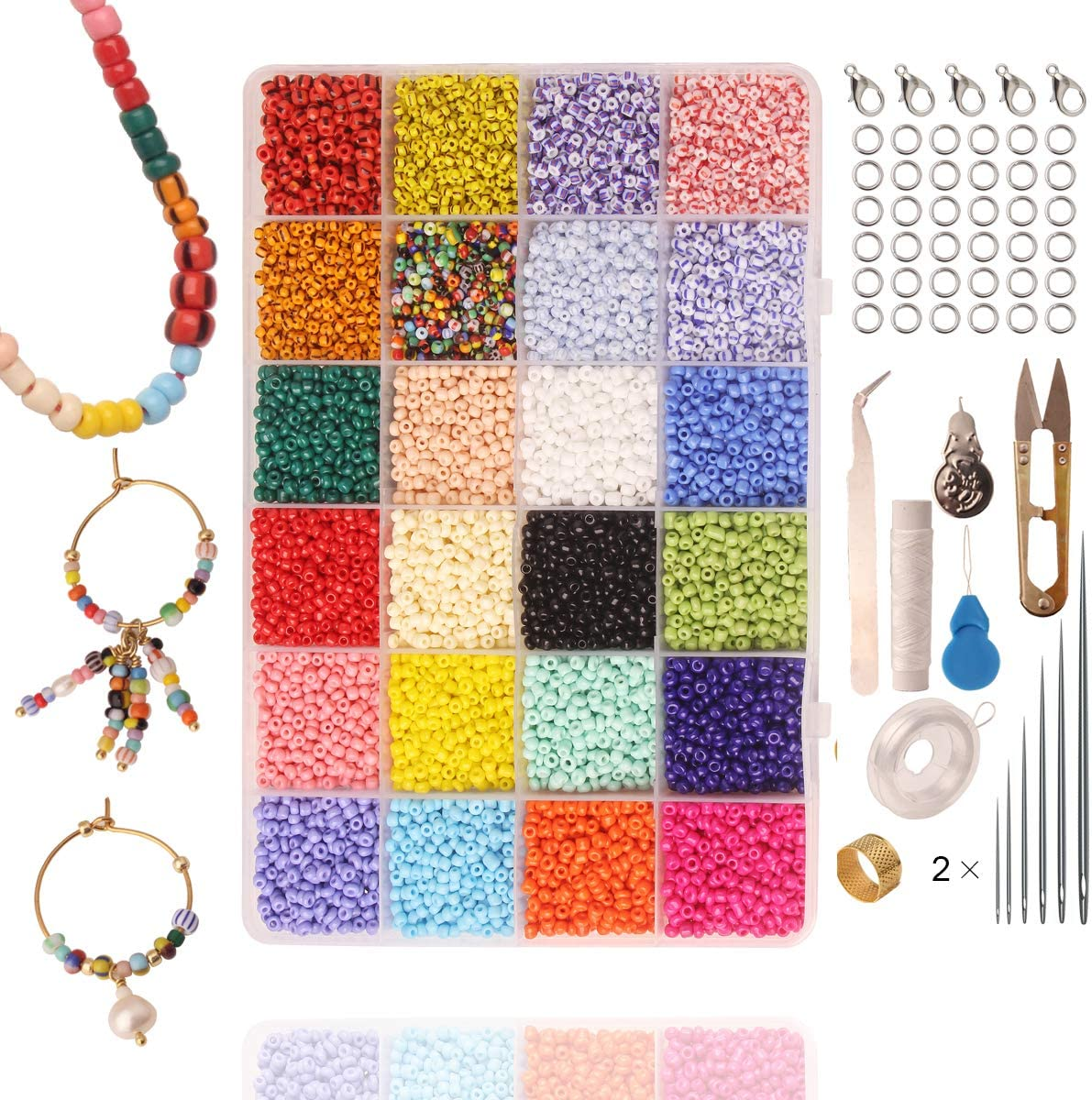Amazon Com Glass Seed Beads Small Pony Stripe Beads Assorted Kit With Organizer Box For Jewelry Making Beading Crafting Round 3x2mm 8 0 24 Assorted Multicolor Set Arts Crafts Sewing