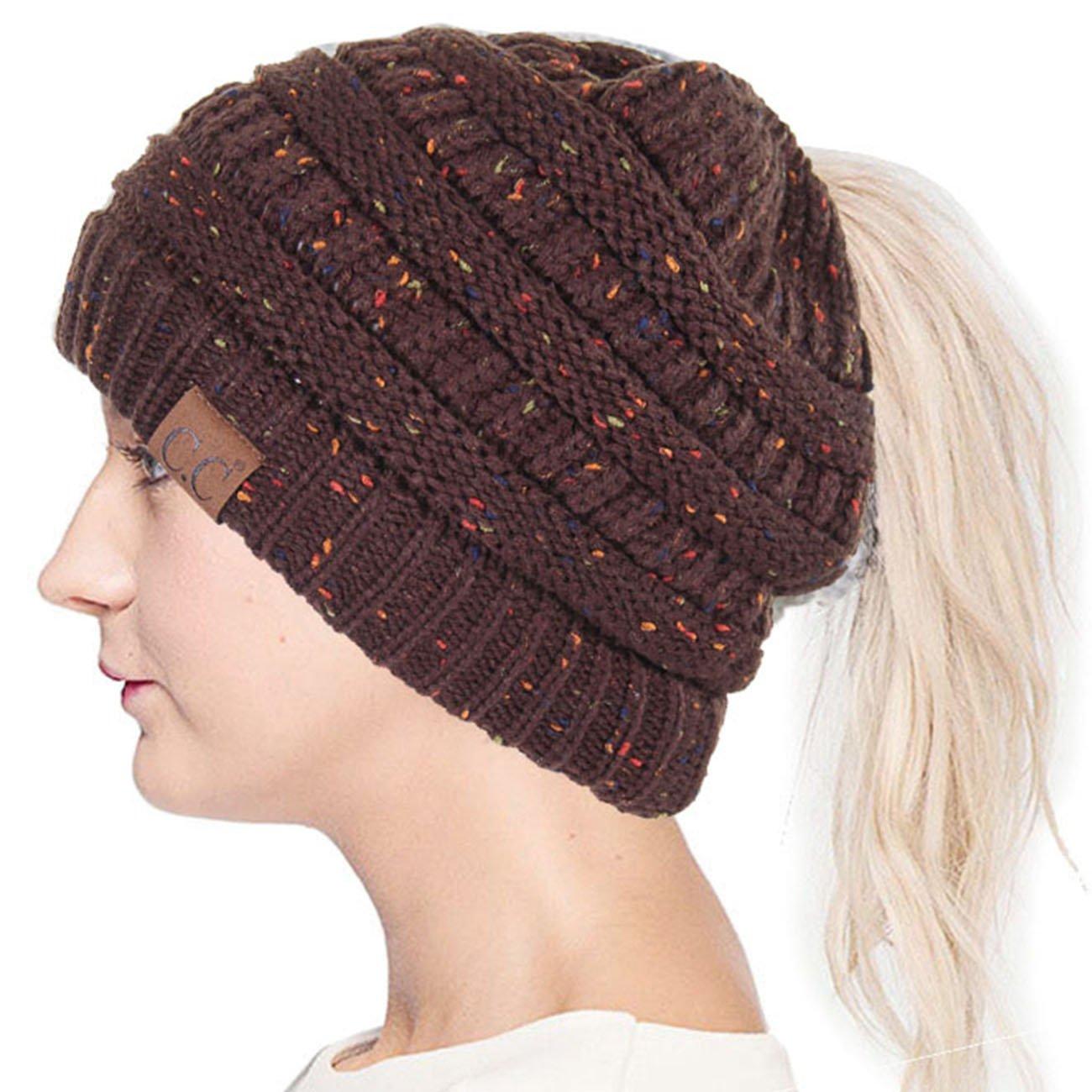 ScarvesMe C.C Confetti BeanieTail Ponytail Messy Bun Solid Ribbed Beanie Hat Cap (Brown)