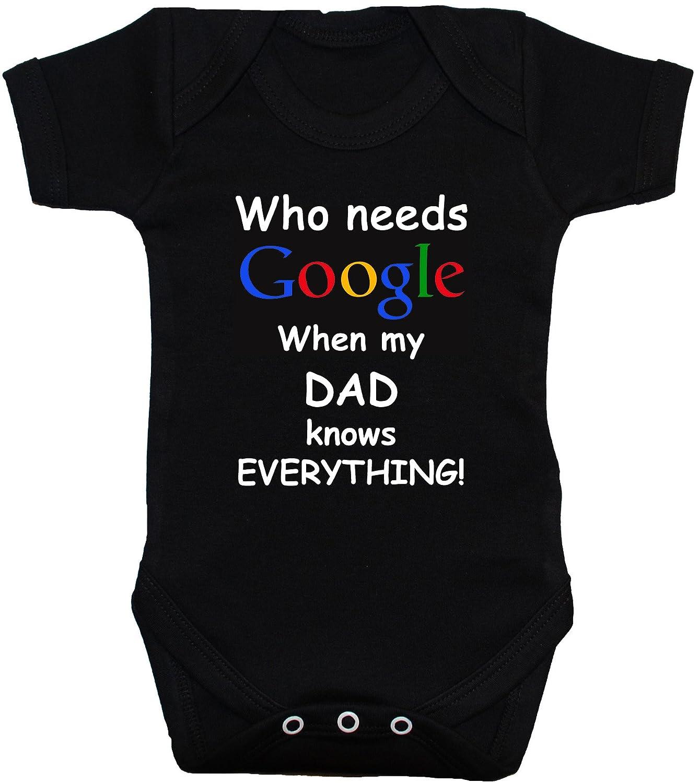 Who necesidades Google cuando lo sabe todo my Dad este producto tiene todo lo cm de diámetro diseño de bebé/Body de/para Mono corto/T-camiseta de manga corta/intercambiables para bebés recién nacidos-24M de costura para chalecos de