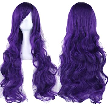 Amazon.com  Long Women Wigs Heat Resistant White Blonde Purple Wavy Cosplay  Wig c16bb7c341