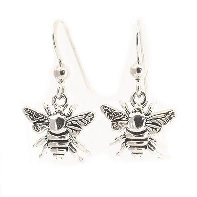 Sterling Silver Honey Bee Drop Earrings IJ6qENOF1