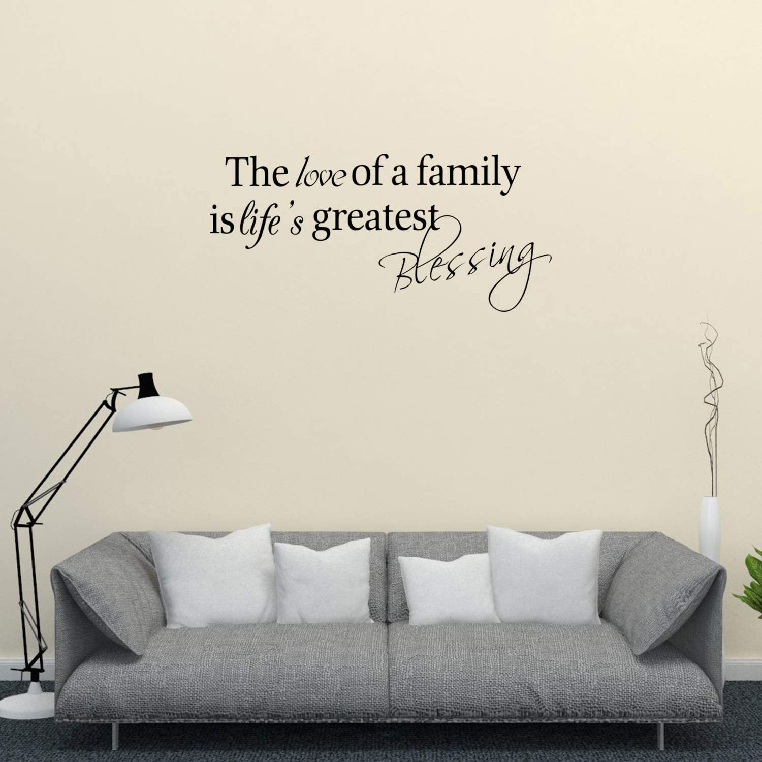 Empresal The Love of a Family is Life's Greatest Blessing Wall Decal Home Sticker Decor Lettering Sign Art