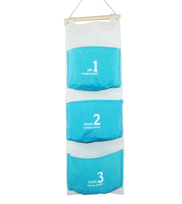 Em Home - Portaoggetti multi-tasche in tessuto, stile vintage, 20x 60cm, con 3tasche, in 4 colori, da appendere in bagno, in un armadio o a uno scaffale per riporre e organizzare accessori vari Verde
