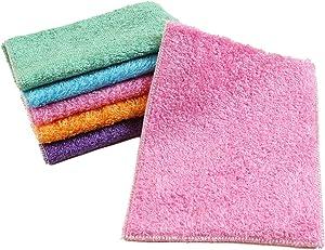 Ziyier G & E 10-Pack Bamboo Fiber Dish Wash Cloth/Clean Towel for Kitchen (White Color/Random Color) (Random Color, 27cm x 30cm)