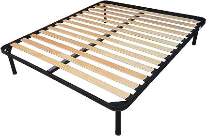 Somier de 170 x 190 cm para cama de matrimonio, ortopédico, con patas, estructura totalmente de hierro