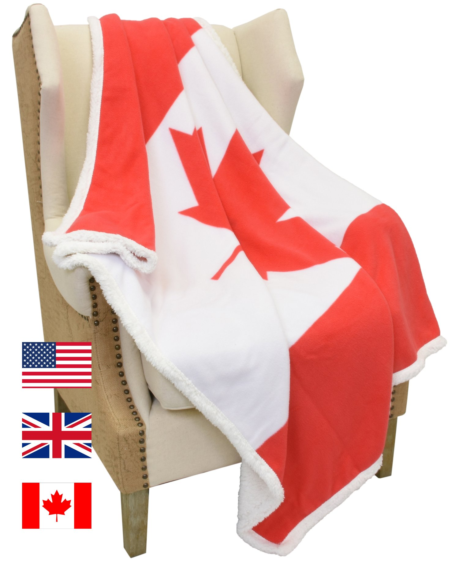 Sherpa Plush Blanket,Canada National Flag Maple Leaf Print Patriotic Plush Super Soft Warm Reversible FleeceThrows for Couch Bed by Catalonia 60''x 50''