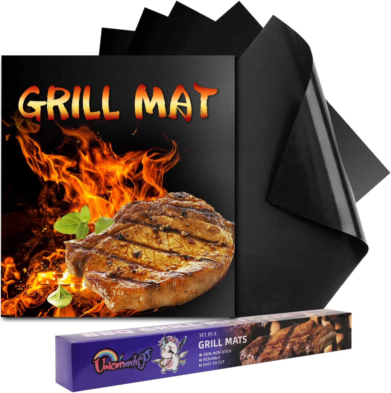 Unicornwhip Grill Mats for Outdoor Grill, Set of 6 Non Stick BBQ Grill Mat, Reusable Grilling Mat, Easy to Clean Grill Sheets, Works on Oven Charcoal Electric Stove, 15.75 x 13 Inch, Black
