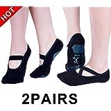 (2 Pair) Womens Ballet Grip Socks for Barre Pilates Yoga