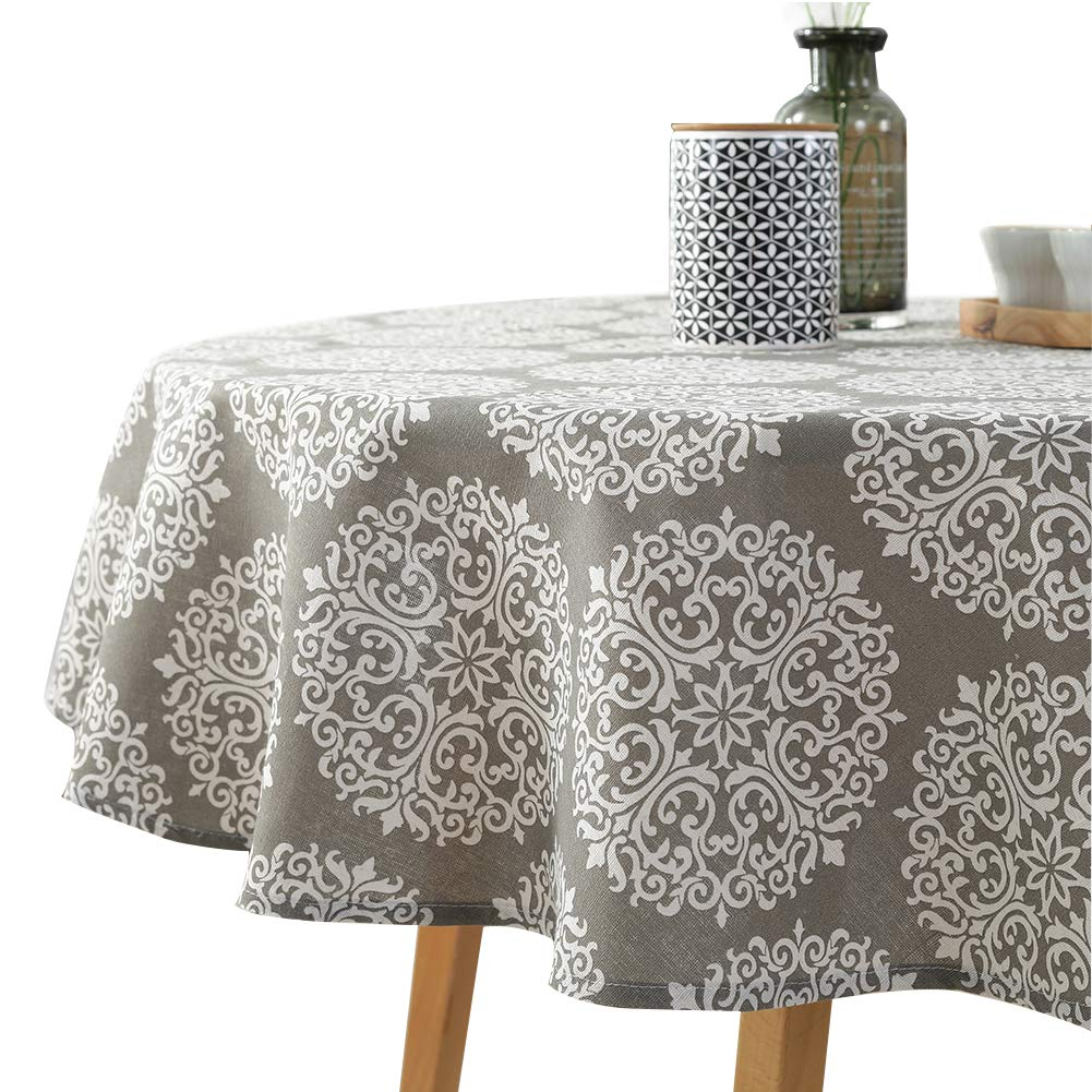 ColorBird Grey Medallion Tablecloth Cotton Linen Dust-Proof Table Cover for Kitchen Dinning Tabletop Linen Decor (Round, 60 Inch)