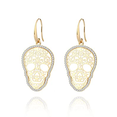 385235d6d Amazon.com: Dangle Earring for Women, Skull Drop Earring Girls Gold and  Silver Earrings with CZ Crystal Stainless Steel Hook Earring (Gold Plated):  Jewelry