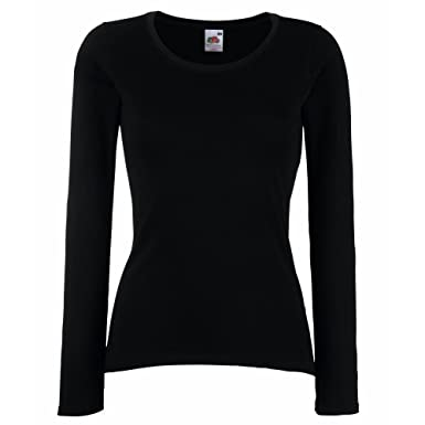 9ded232f5be Fruit Of The Loom Ladies/Womens Lady-Fit Long Sleeve Crew Neck T-Shirt:  Amazon.co.uk: Clothing