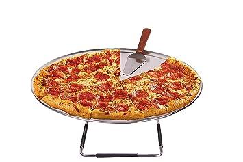 Pizza para horno Serving Set – 18 cm de ancho borde aluminio bandeja de Pizza –