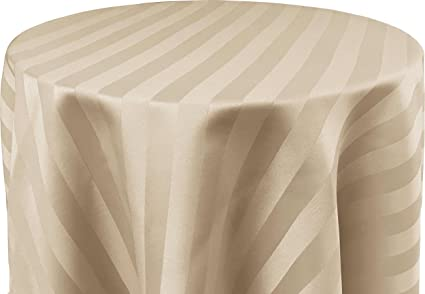 Ordinaire Bright Settings 60 X 120 Inch OVAL Tablecloth, Polystripe   ULTRA WIDE,  Ivory