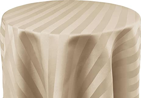 Superbe 60 X 108 Inch OVAL Tablecloth, Polystripe   ULTRA WIDE, Ivory