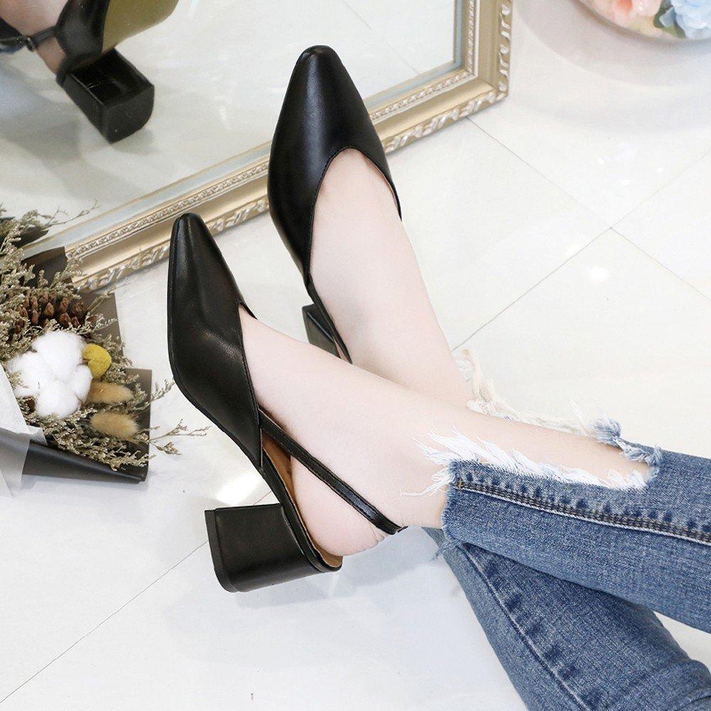 Clearance Sale Shoes For Women,Farjing Fashion Women Pointed Toe Slip-on Hoof Heels Party Leisure Shoes(US:6,Black)