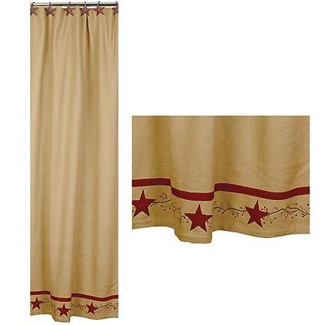 Primitive Star Vine Cotton Burlap Country Shower Curtain