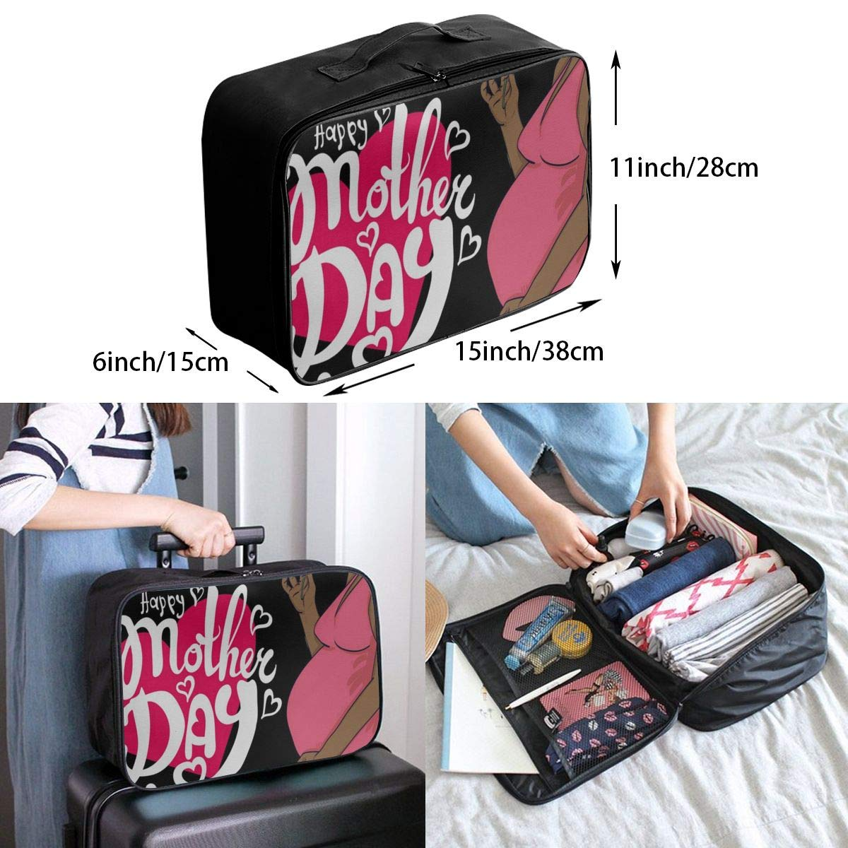 Travel Bags Happy Mother Day Portable Duffel Trolley Handle Luggage Bag