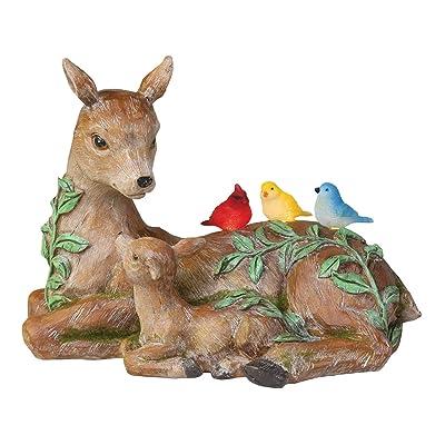 ART & ARTIFACT Solar Deer and Birds Sculpture - Outdoor Light Up Animal Yard and Garden Accent Lawn Ornament : Garden & Outdoor