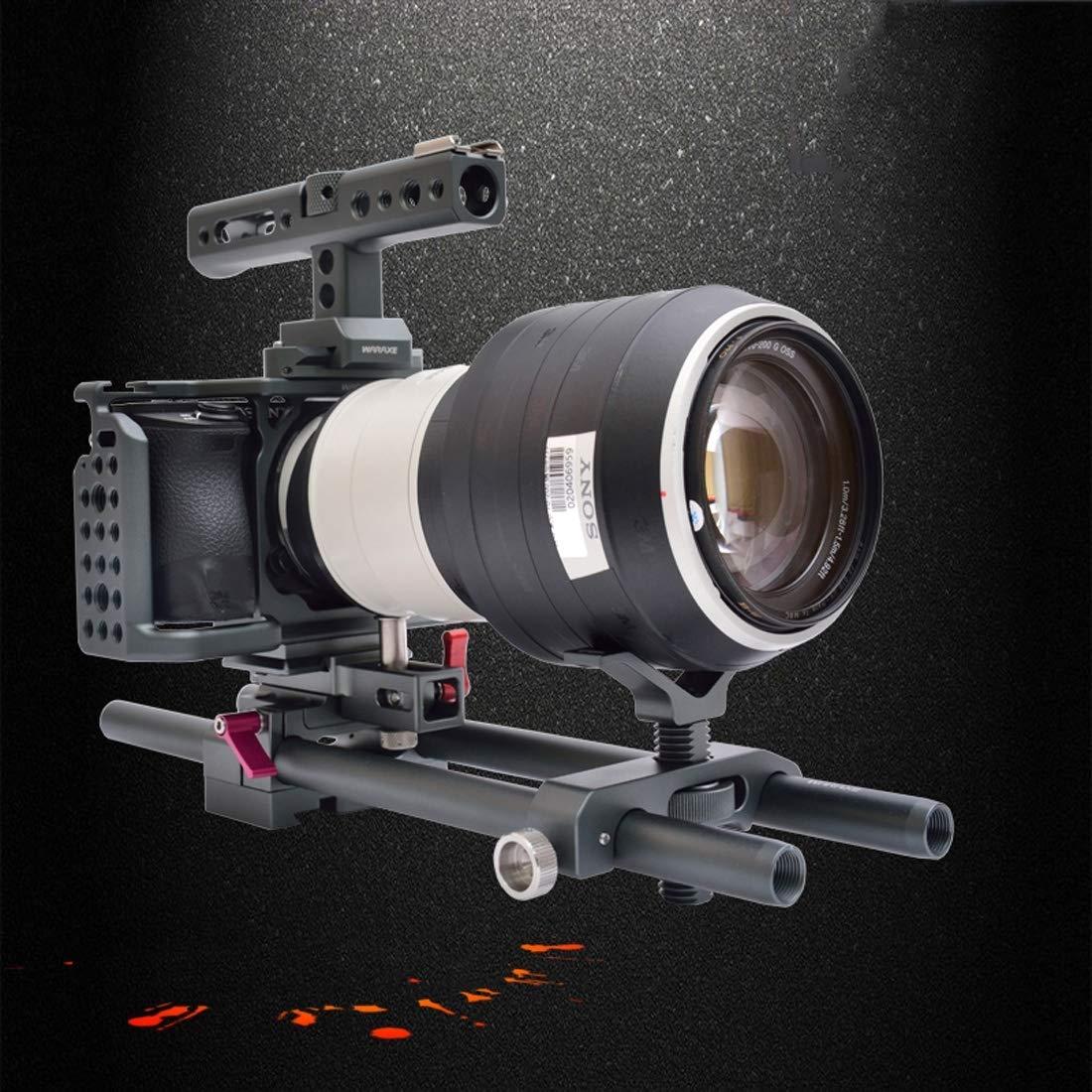 カメラケージリグキット ハンドルロッドレールサポートシステム付き HDMIクランプ Sony A6500/A6300/A6000用   B07LBPZQ42
