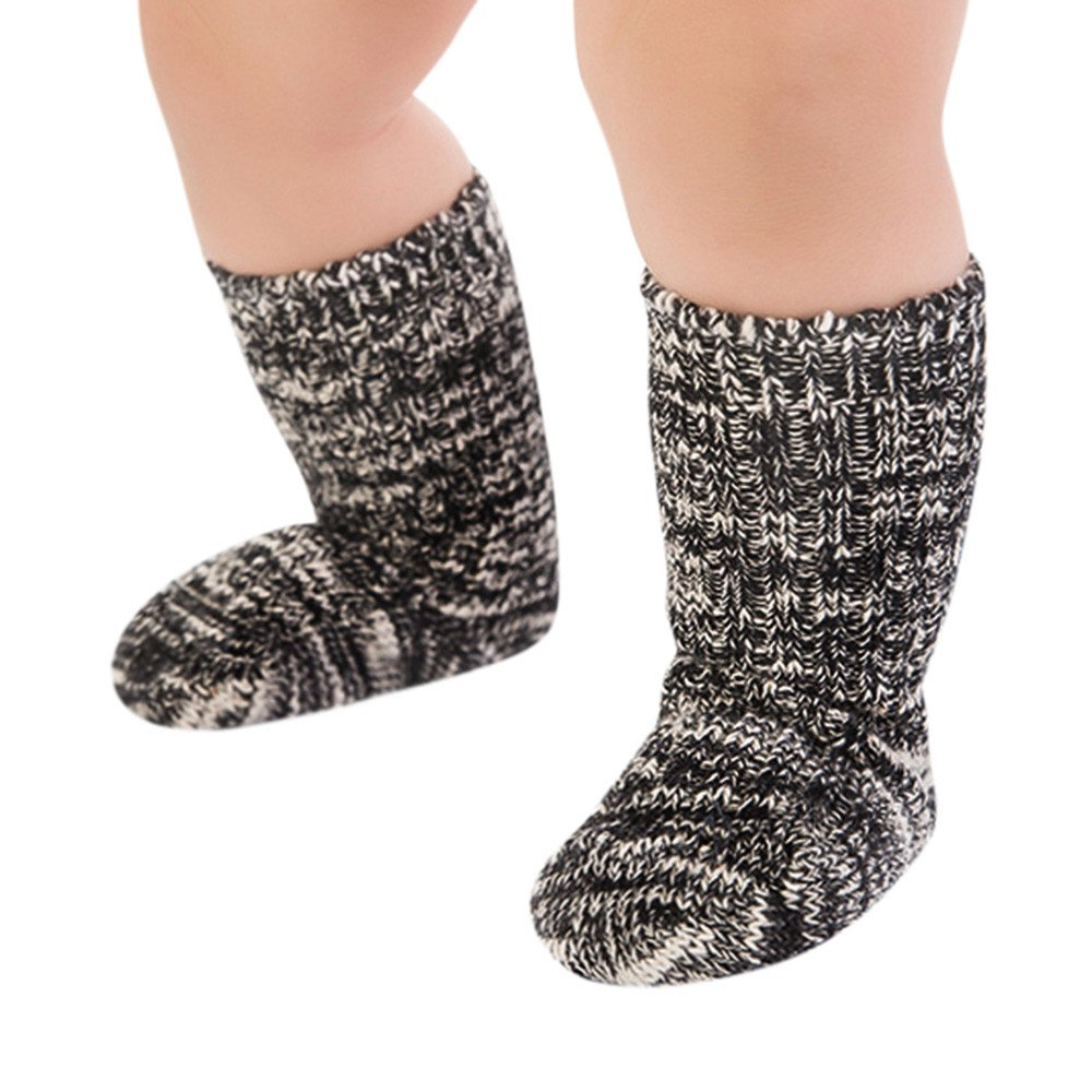 FEITONG 1 Pairs Cotton Soft Solid Socks for Baby Boys Girls Toddler Kids Child(0-2T,Black)