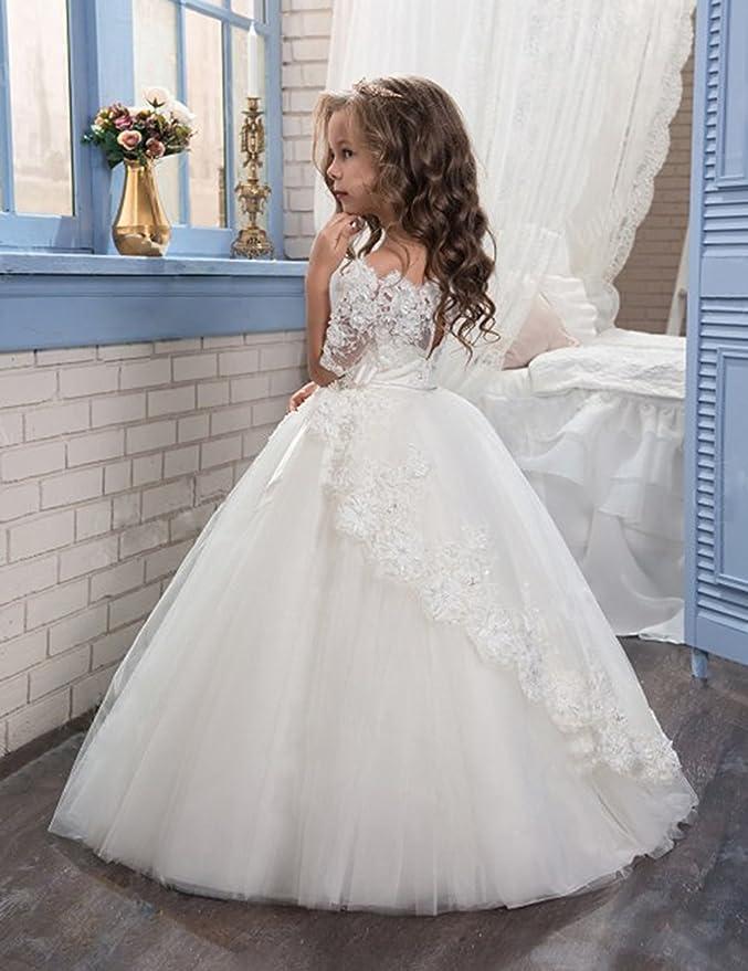 cf58934729bbe8 Beyonddress Beyonddress Mädchen Blumenmädchen Kleider Hochzeit Bodenlanges  Kinderkleid Kommunionkleid Ballkleid Spitze Partyskleid Kleider: Amazon.de:  ...