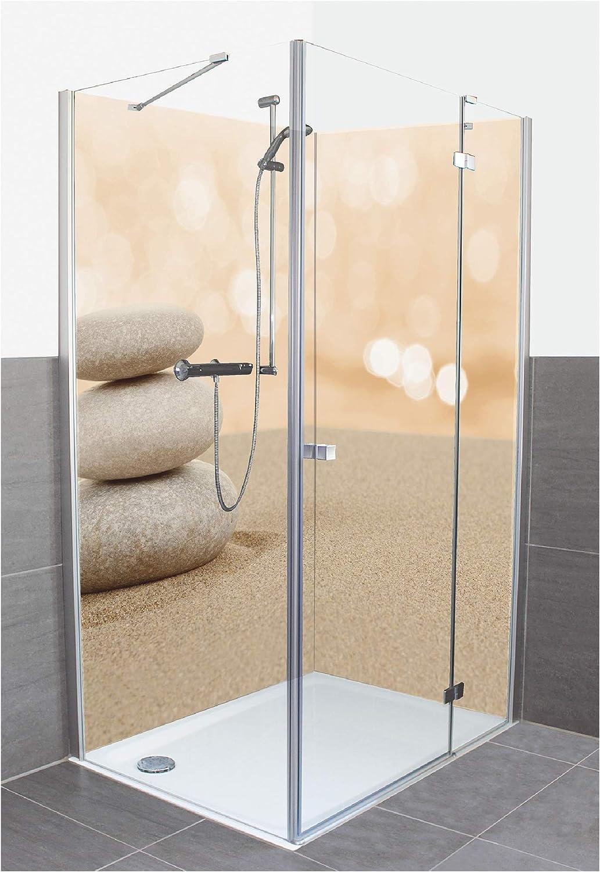 Artland D3JH - Revestimiento de Pared para la Parte Posterior del baño (Placa de Aluminio Compuesto), diseño de Zdenek Malý con Piedras Zen en Arena Sobre Fondo ...