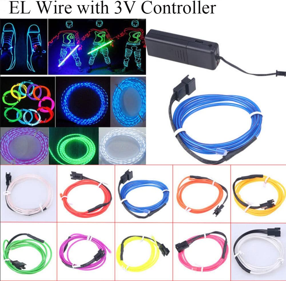 POSSBAY 2M EL Rope Flowing Light Strips With Battery Box for Garden Patio Party Christmas Decoration EL Wire Strobing Neon Lights 3 Modes