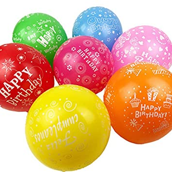 PeStary 100 Pcs 12quot Latex Printed Happy Birthday Balloons For Party Decoration 10 Colors 28