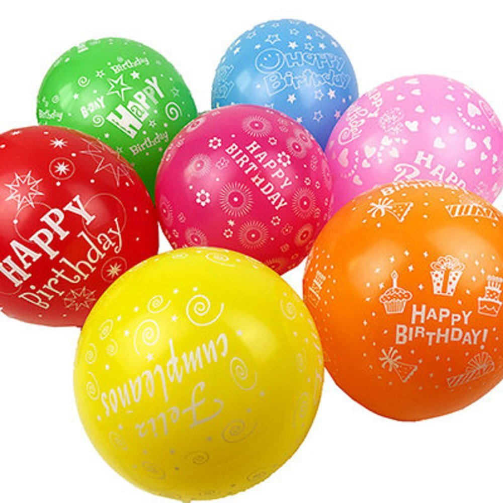 100 Pcs 12 inches Latex Printed''Happy Birthday'' Balloons for Party Decoration 10 Colors 2.8 Gram
