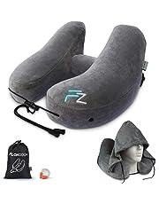 Nackenkissen aufblasbar von FlowZoom - aufblasbares Nackenhörnchen für Reisen in Flugzeug, Auto, Zug - Schnell aufblasbar, Nacken- und kinnunterstützend - ideal für Lange Reisen; Set mit Kapuze; grau