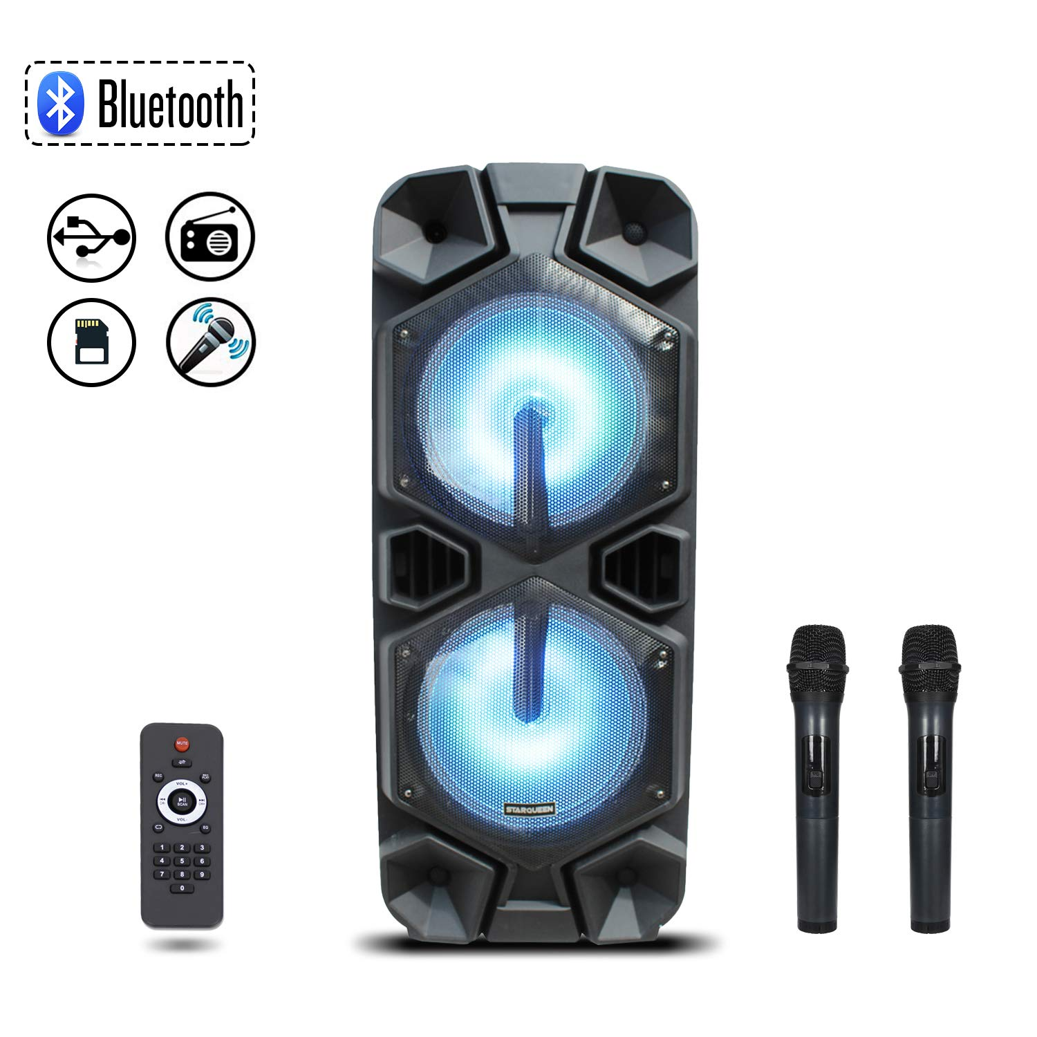 Starqueen Trolley Bluetooth PA Speaker Dual 12'' Woofers with 2 Wireless UHF Microphones, Battery Powered Rechargeable Karaoke DJ Speaker with LED Lights, Active Digital Sound Box, FM/MP3/USB/SD/TF/AUX