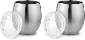 Stainless Steel Small Tumbler with Lid, Double Wall Vacuum Insulated Mug for Hot and Cold Drink, Thermal Cup with Lid for Wine or Coffee, by Zero Degree (8oz 2 Pack)