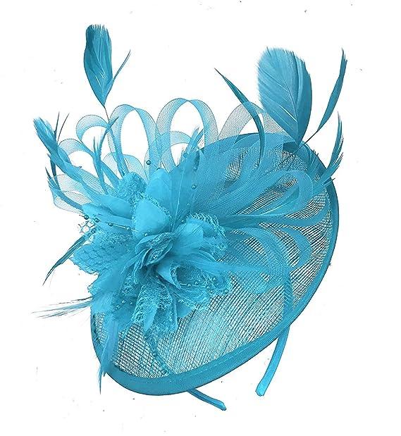 b644a8437e921 Caprilite Aqua Cyan Sinamay Disc Saucer Fascinator Hat for Women Weddings  Headband  Amazon.co.uk  Clothing