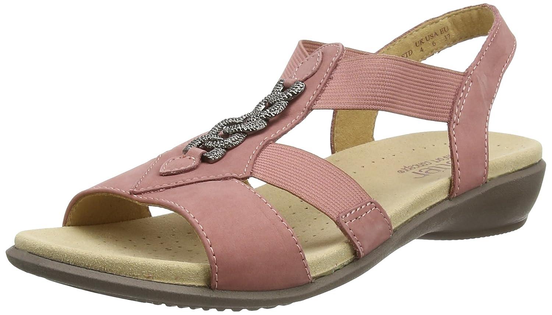 BEAMXS - Sandalias con Punta Abierta de Piel Mujer, Color Rosa, Talla 37 Hotter