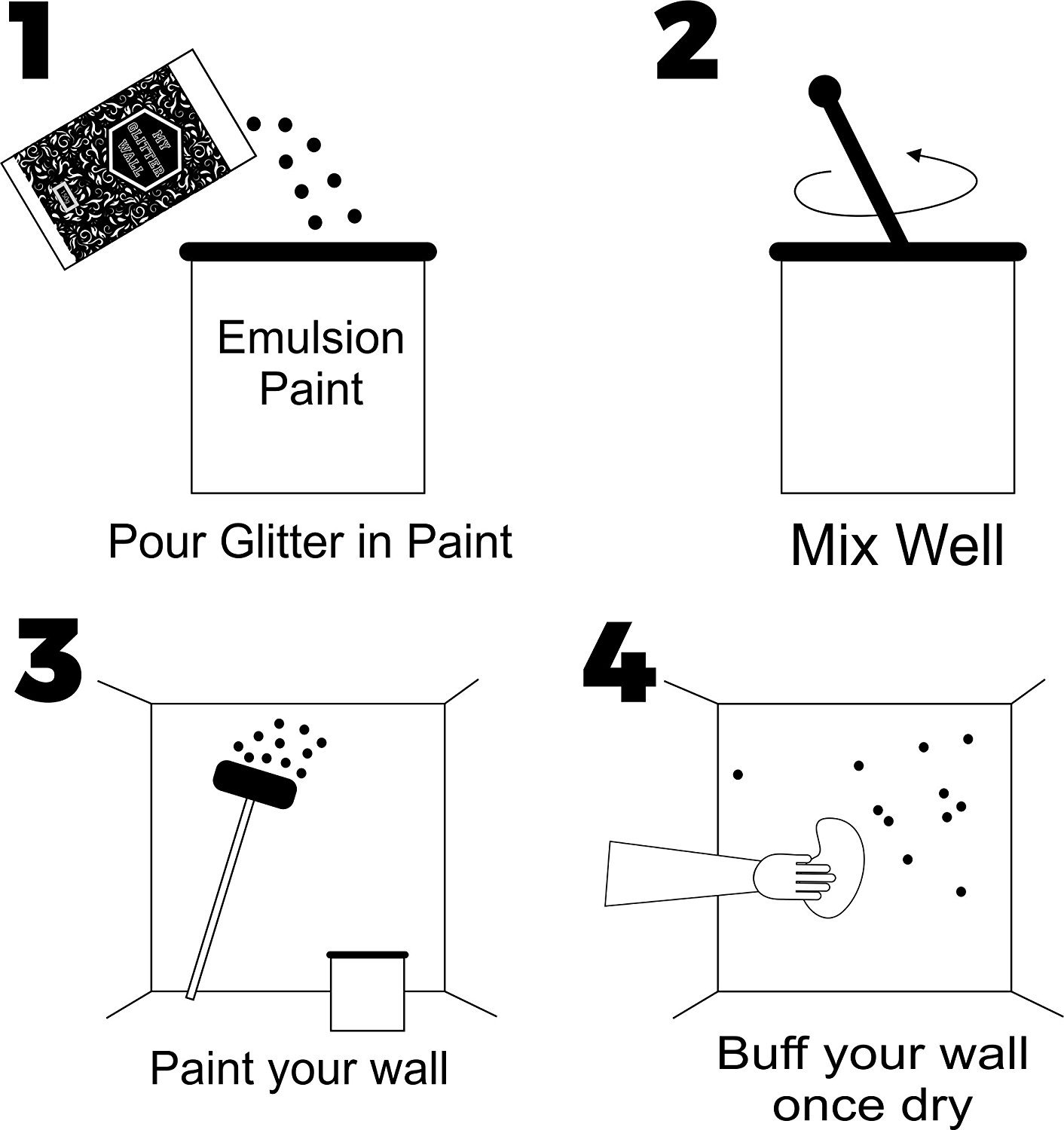 My Glitter Wall Purpurina para pintura de emulsión, 150 g, decoración de pared ideal para interior y exterior, color plata: Amazon.es: Bricolaje y ...