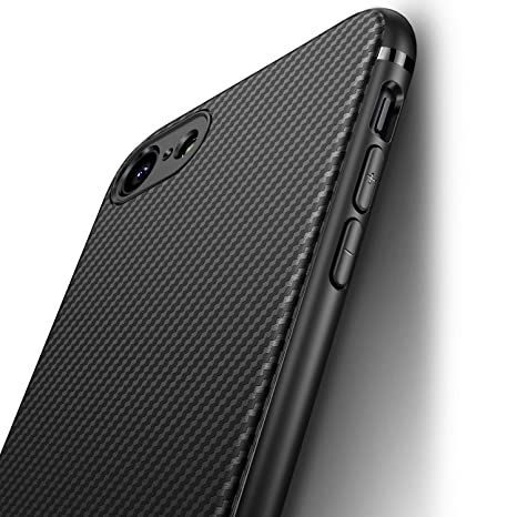 J Jecent Funda iPhone 8 Funda iPhone 7 [Textura Fibra de Carbono] Carcasa Ligera Silicona Suave TPU Gel Bumper Case Cover de Protección Antideslizante ...
