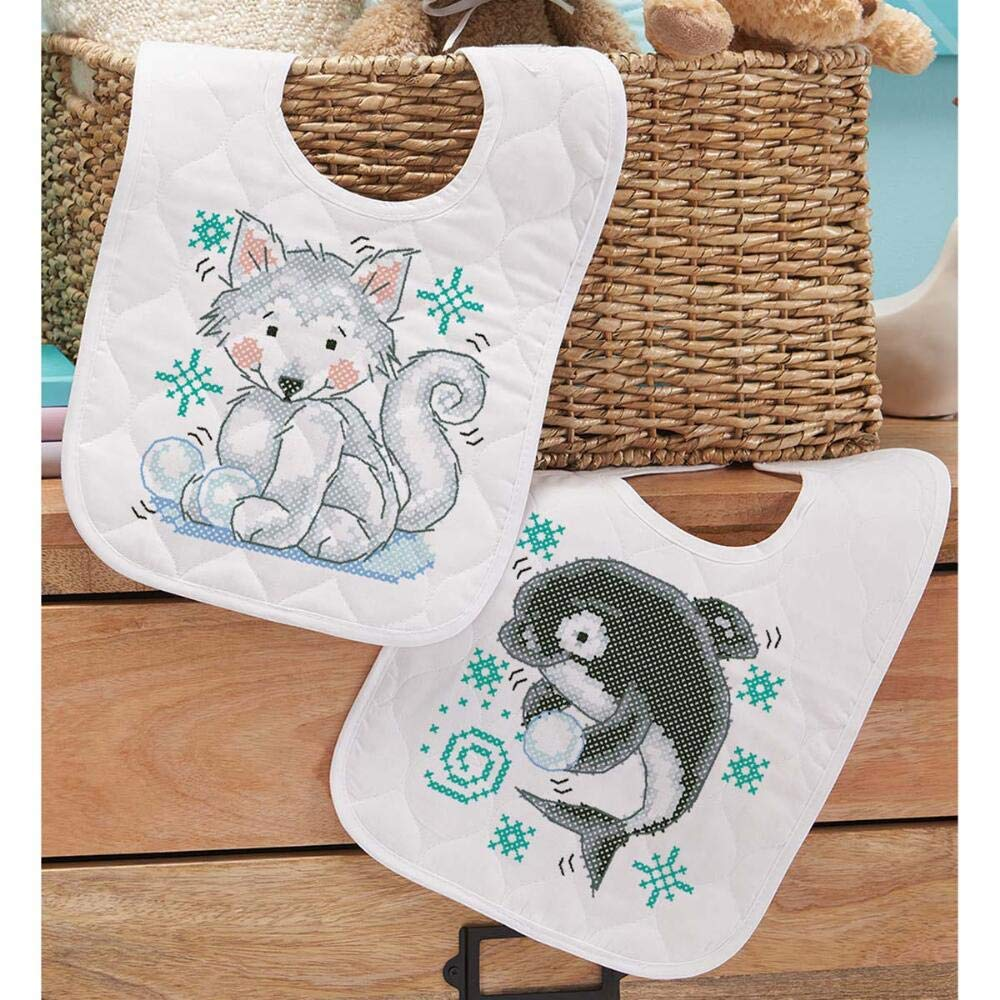 Herrschners/® Pre-Quilted Polar Pals Baby Bibs Stamped Cross-Stitch Kit