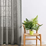 LINENWALAS Slub Linen Khadi Look Non Blackout Solid Sheer Door Curtain with Eyelet Rings, Light Grey, 4.5 x7 ft - Set of 2
