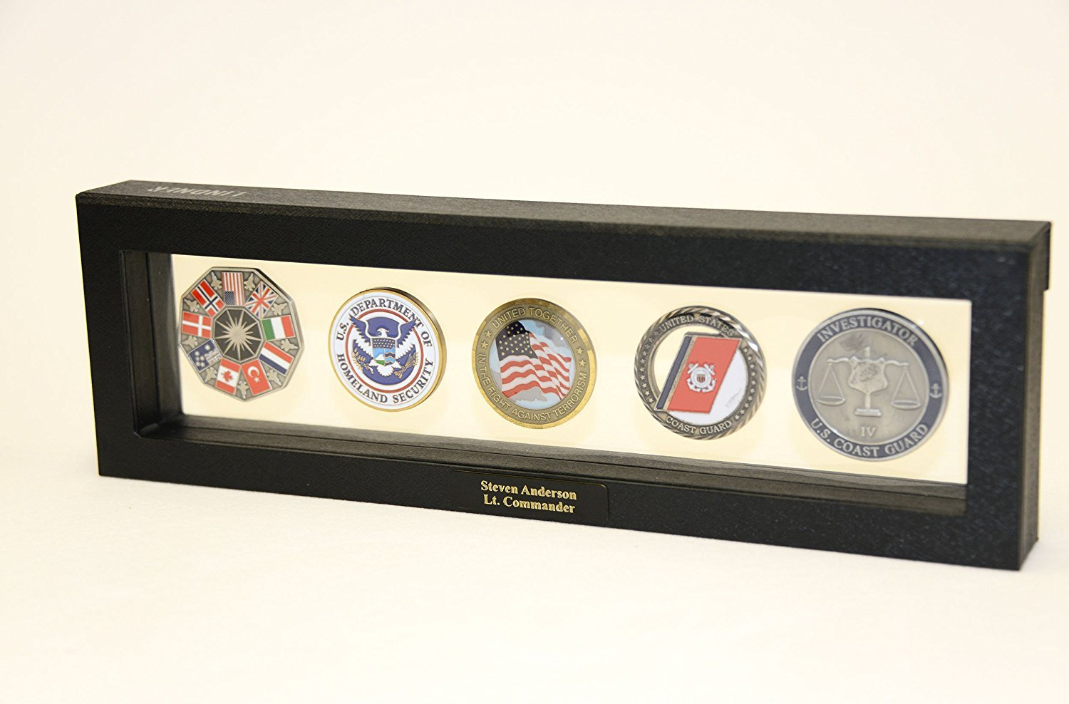 5 Challenge Coin/Casino Chip/Coins Display Case Box Frame Holder