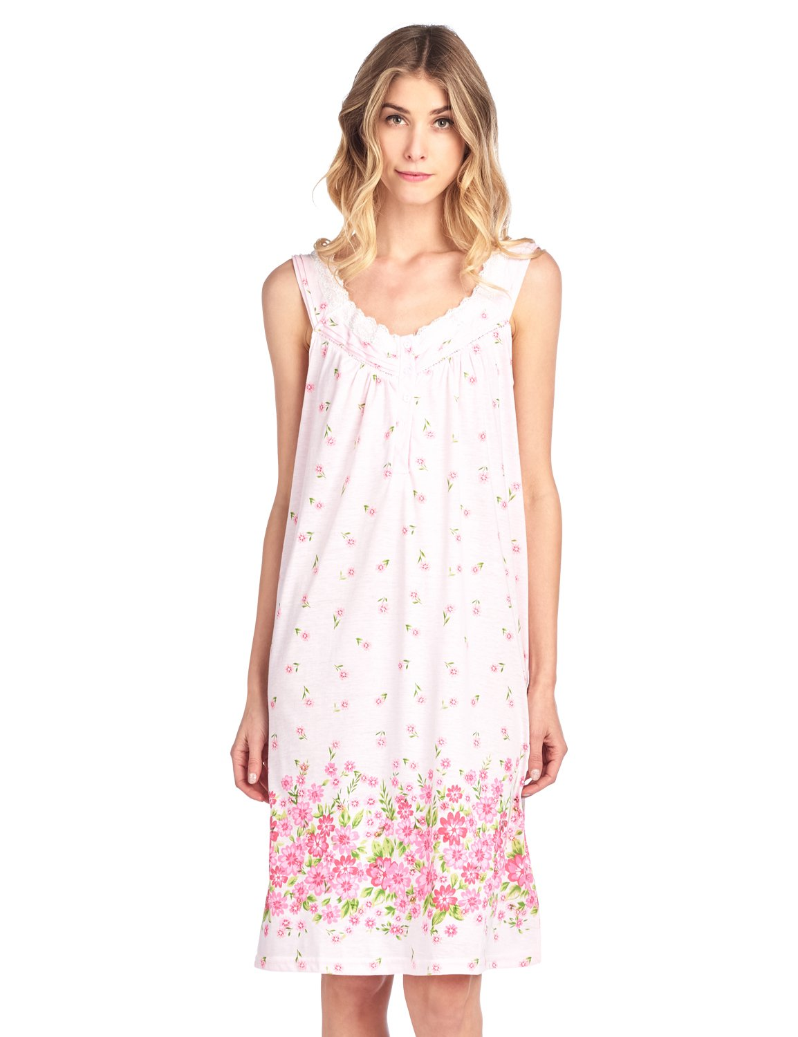 Casual Nights Women's Sleeveless Embroidered Pointelle Nightgown Sleep Dress