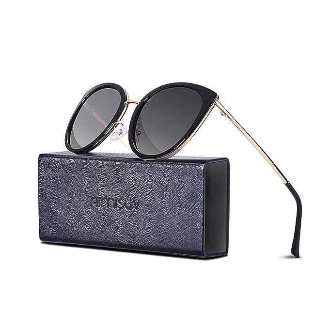 b1aad14ed5 Retro Polarized Cute Cat Eye Sunglasses - AIMISUV Vintage Driving Sun  Glasses UV Protection Lenses For