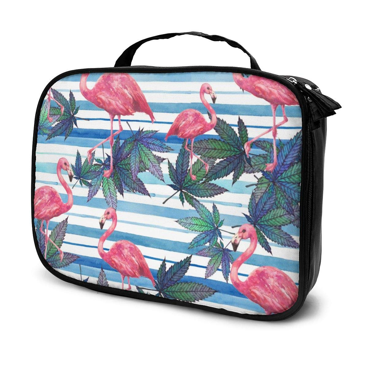 YongColer Lazy Toiletry Bag Handbag, Pink Flamingo and Weed Beach Design Travel Makeup Train Case Pouch Large Capacity Carry On Bag, Portable Luggage Pouch, Makeup Pouch for Women Girls Ladies